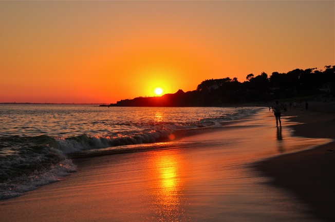 sunset, beach, ocean, France