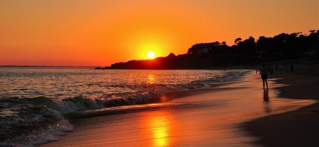 sunset, beach, ocean, France