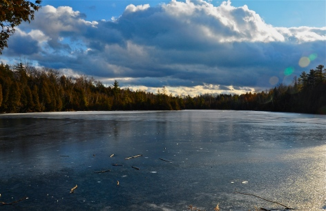 Carwford lake, explore, frozen lake, lake, ice, forest trees, sunset, winter