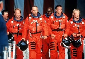 photograph, flight crew, Armageddon, red jumpsuits