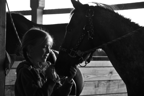 girl, pony, black and white, photograph, stable, riding