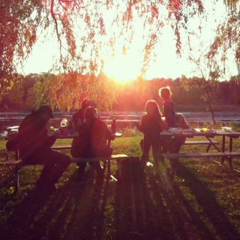 sunset, photograph, park, lake, picnic, family