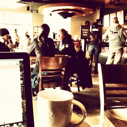 Starbucks, computer, Mac, computer, laptop, photograph, people, cup, coffee